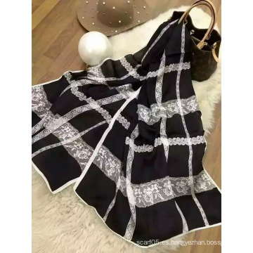 Bufanda de corte de seda estilo estrella