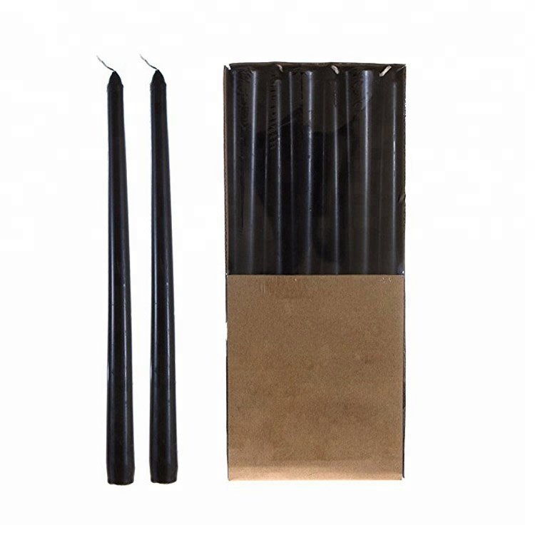 Black Taper Candles 12 Inch Tall Unscented