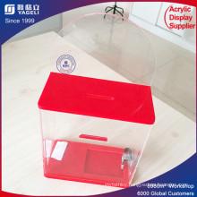 OEM Supply Red Acrylic Donation Box with Key Lock