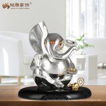 Religion Dekoration Harz Elefanten Götter Idol Indische Silber Ganesha Statue