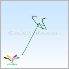 Einfache und bequeme grüne Pulver beschichtete strudy Einzeldraht Einzelhandel Metall hängenden Display Haken