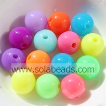 Warm 16mm Crystal Plastic Round Smooth Ball Pandora Beads
