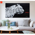 Black and White Leopard Oil Painting