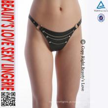 Rivet cadeia erótica G-string calcinhas sexy T de volta tanga de couro sem pernas para mulheres