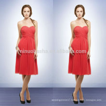 Simple Empire Chiffon Bridesmaid Dresses Coral Color 2014 Sweetheart Knee-Length Short Prom Gown With Criss-Cross Pleats NB0735