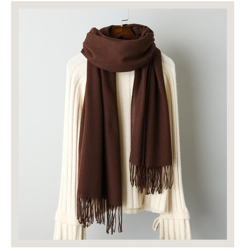 Cashmere solid color scarf knitted tassel shawl (4)
