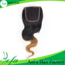 Cierre de cabello humano brasileño color ámbar