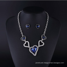 Heart Sharp Sapphire Crystal Rhinestone Necklace Sets