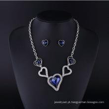 Conjuntos de colar de strass cristal afiado sapphire coração