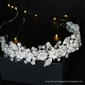 Fita de cabelo de folha de cristal artesanal de alta qualidade, acessórios para cabelo de noiva