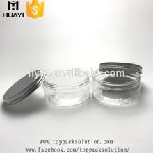 Pot en plastique transparent de 200 ml avec couvercle en aluminium