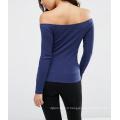 Sexy Fashion manches longues au large de l'épaule Femmes coton Rib Top