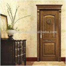 Puerta de madera clásica de la entrada y diseños de madera de lujo de la puerta, puerta de madera sólida o MDF material de la puerta de madera