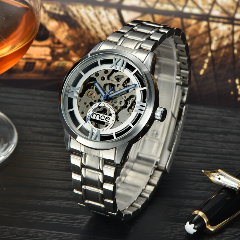 MCE branded mechanical sliver steel fashion watch