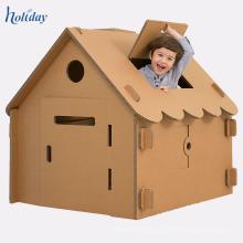 Casa de juegos de cartón al por mayor de los niños, casa del juego de la muñeca del papel de la cartulina de DIY