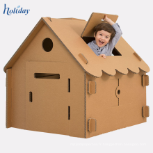 Playhouse en gros de carton d'enfants, maison de jeu de poupée de papier de carton de DIY