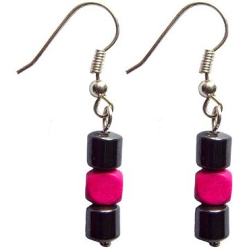 Hematite Earring With 925 Deeppink Silver Hook
