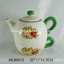 Großhandelsdekorative keramische Teekanne und Schale in einem mit Blumenabziehbild