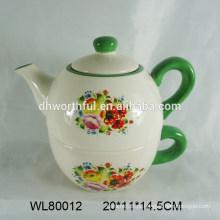 Atacado teapot de cerâmica decorativa e copo em um com decalque de flor