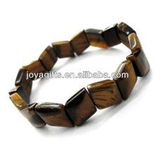 Tigereye piedras preciosas rhombic Spacer perlas pulsera de estiramiento