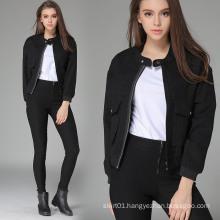 OEM 2015 New Europe Style Black Motorcycle Jacket for Women