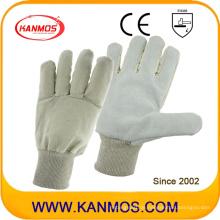 Rindsleder-Arbeits-Arbeitshandschuhe mit weißer Handgelenk-Manschette (11021)