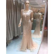 Wunderschöne Perlen Tüll Rundhals Sparkling 2017 Meerjungfrau Abendkleider