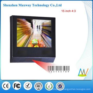 commercial publicité joueur d'ad 15 pouces LCD avec lecteur de code à barres