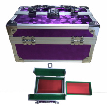 Double Open Cosmetic Case with Sequined Pattern