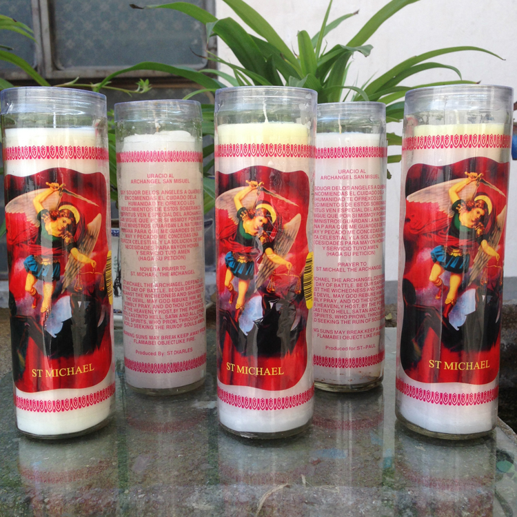 Vidro Religioso Jar Vigil Prayer 7 Day Candles