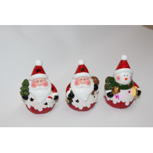 Décor à la maison en céramique porcelaine de Noël avec lumière