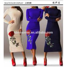 Mulheres ocidentais de manga longa mid-calf vestido formal com flor mulheres indianas desgaste do partido vestido vestido extravagante mulheres
