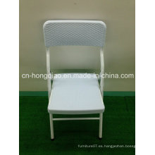 Silla de ratán blanco para la boda, al aire libre ligero barato plegable sillas de ratán, bonito aspecto de tejido de plástico sillas de mimbre