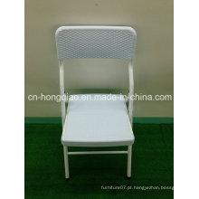 Cadeira de vime branco para casamentos, Cadeiras de vime dobráveis de luxo leve ao ar livre, Cadeiras de vime de tecelagem de plástico Nice Look