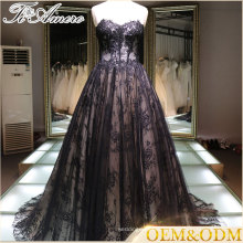 China supplier black luxury lace custom made plus size ball gown