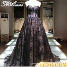 Китай поставщик черный роскошные кружева на заказ плюс Размер бальное платье