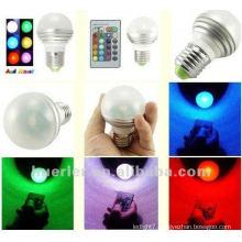 3We27 remote control 16 color rgb led bulb light AC100-240V RGB003