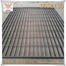Grade de aço de barra fechada preta para plataforma / passarela