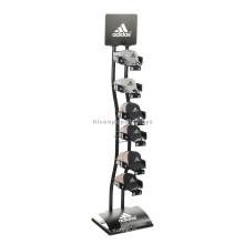 Precio de Fábrica Diseño Gratuito Publicidad personalizada de una sola fila de Metal Rack pie de pie sombrero Stand Display