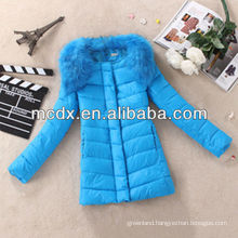blue Fall and winter clothes new Slim Removable Hairy collar woman Long down jackets