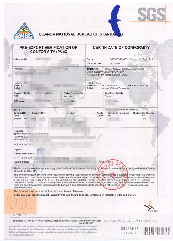 Certificated sachet tomato