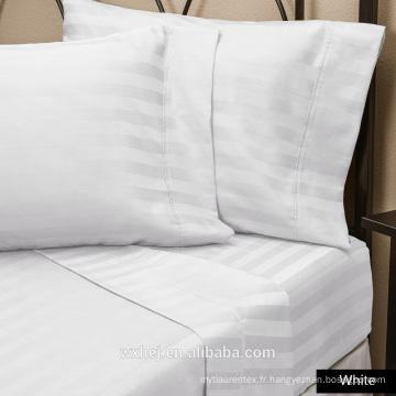 Usine En Gros 100% Coton Naturel Rayure Blanc Hôtel king size linge de lit