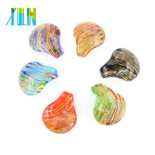 12pcs/box Striped Drop Lampwork Murano Foil Glass Big Pendants Beads, MC0011