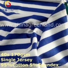 Baumwollspandex-Streifen-Garn färbte Jersey-Gewebe für T-Shirt Kleidergewebe (GLLML268)