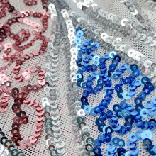 New arrival ripple pattern polyester knit metallic 3mm small sequin mesh embroidery fabric