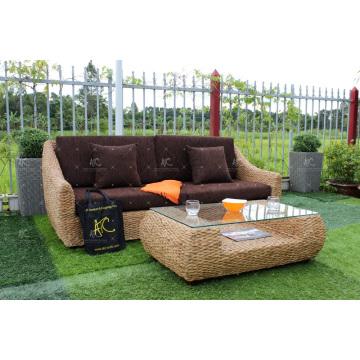 2017 Europe Design Water Hyacinth Sofá Juego para muebles de mimbre de interior