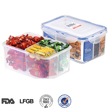 airtight plastic food container with divider