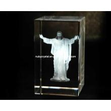 Jesus Laser Engraved in Crystal Cube for Christian Souvenir Gift