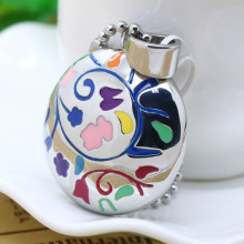 Stainless steel colorful epoxy round pendant