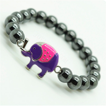 Hematite 8MM Round Beads Stretch Gemstone Bracelet with alloy elephant Piece